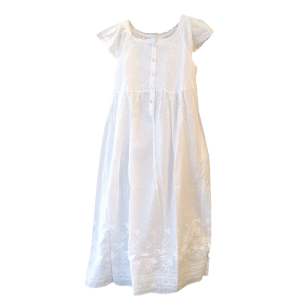 "Victoriana ""Carmen"" White Smocked Nightgown"