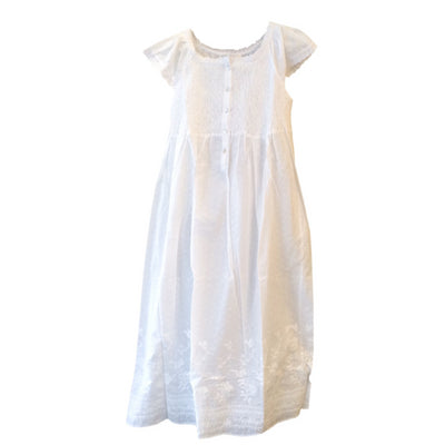 "Victoriana ""Carmen"" White Smocked Nightgown, VI-Victoriana Imports, Putti Fine Furnishings"