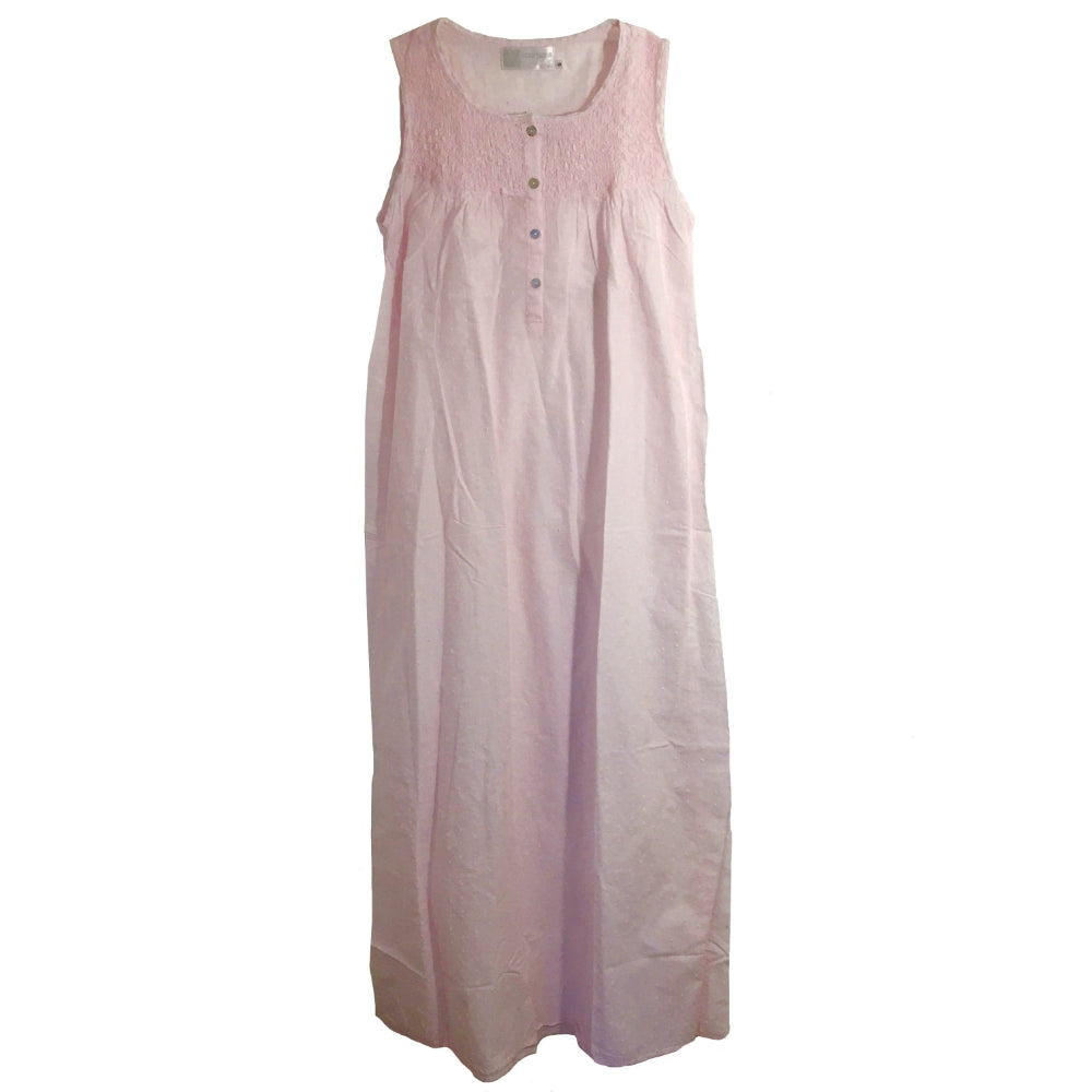 "Victoriana ""Janice"" Smocked Pink Swiss Dot Nightgown"