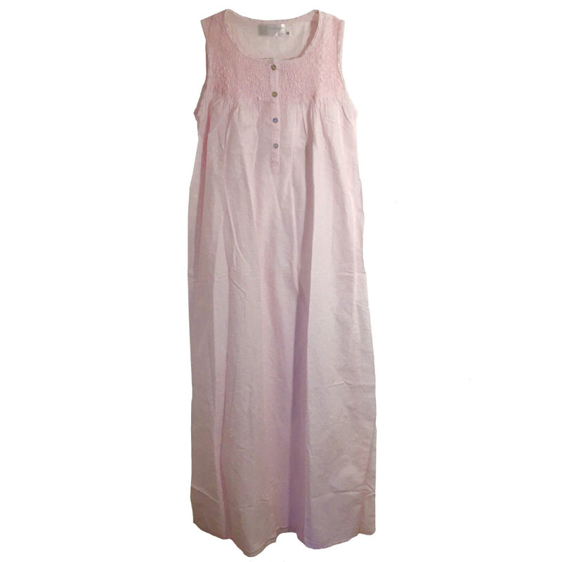 "Victoriana ""Jamie"" Smocked Pink Swiss Dot Nightgown, VI-Victoriana Imports, Putti Fine Furnishings"