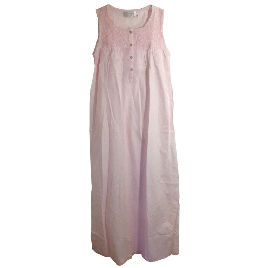 "Victoriana ""Jamie"" Smocked Pink Swiss Dot Nightgown"