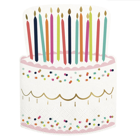 Birthday Cake Die Cut Paper Napkin-Party Supplies-SC-Slant Collections-Putti Fine Furnishings