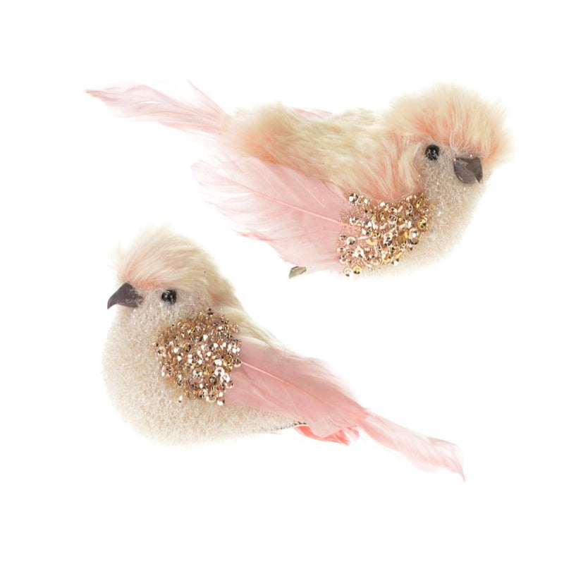 Pink Fury Clip Birds, CT-Christmas Tradition, Putti Fine Furnishings
