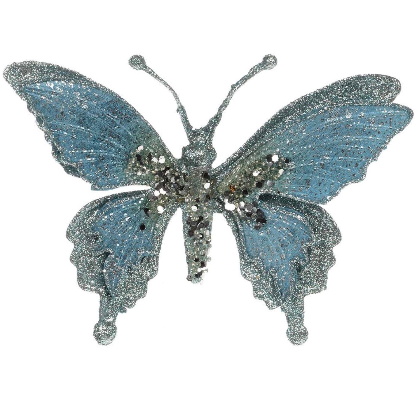 Iced Blue and Silver Butterfly Clip