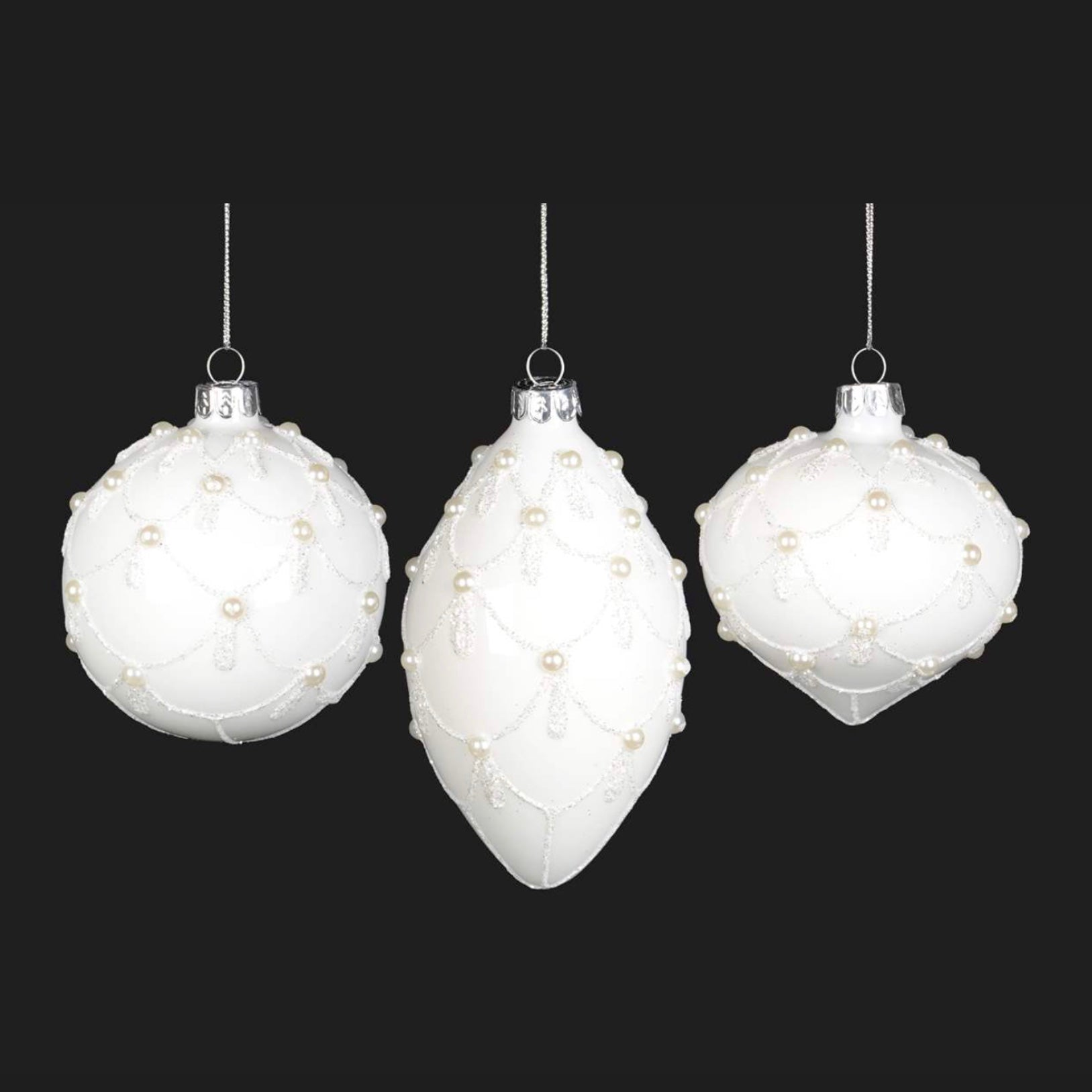 White Glass Ornament with Pearl Swags, CT-Christmas Tradition, Putti Fine Furnishings