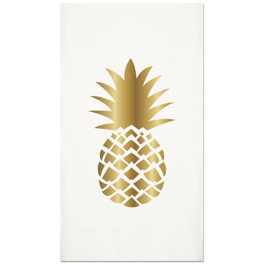 Pineapple Gold Foil Paper Guest Towel