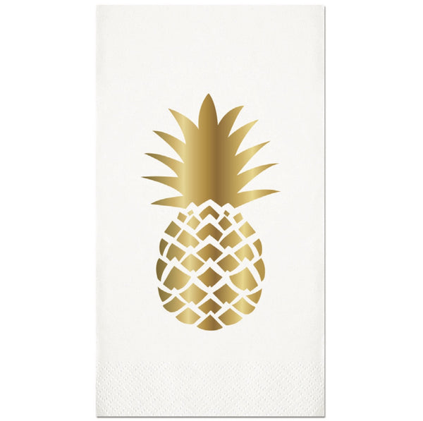 Pineapple Gold Foil Paper Guest Towel-Party Supplies-SC-Slant Collections-Putti Fine Furnishings
