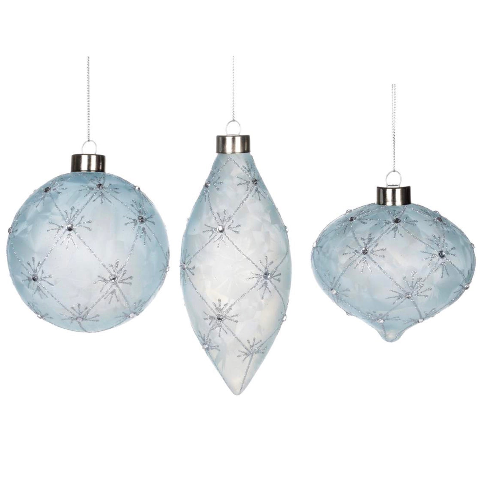 Ice Blue Glass Ornament with Crystals, CT-Christmas Tradition, Putti Fine Furnishings
