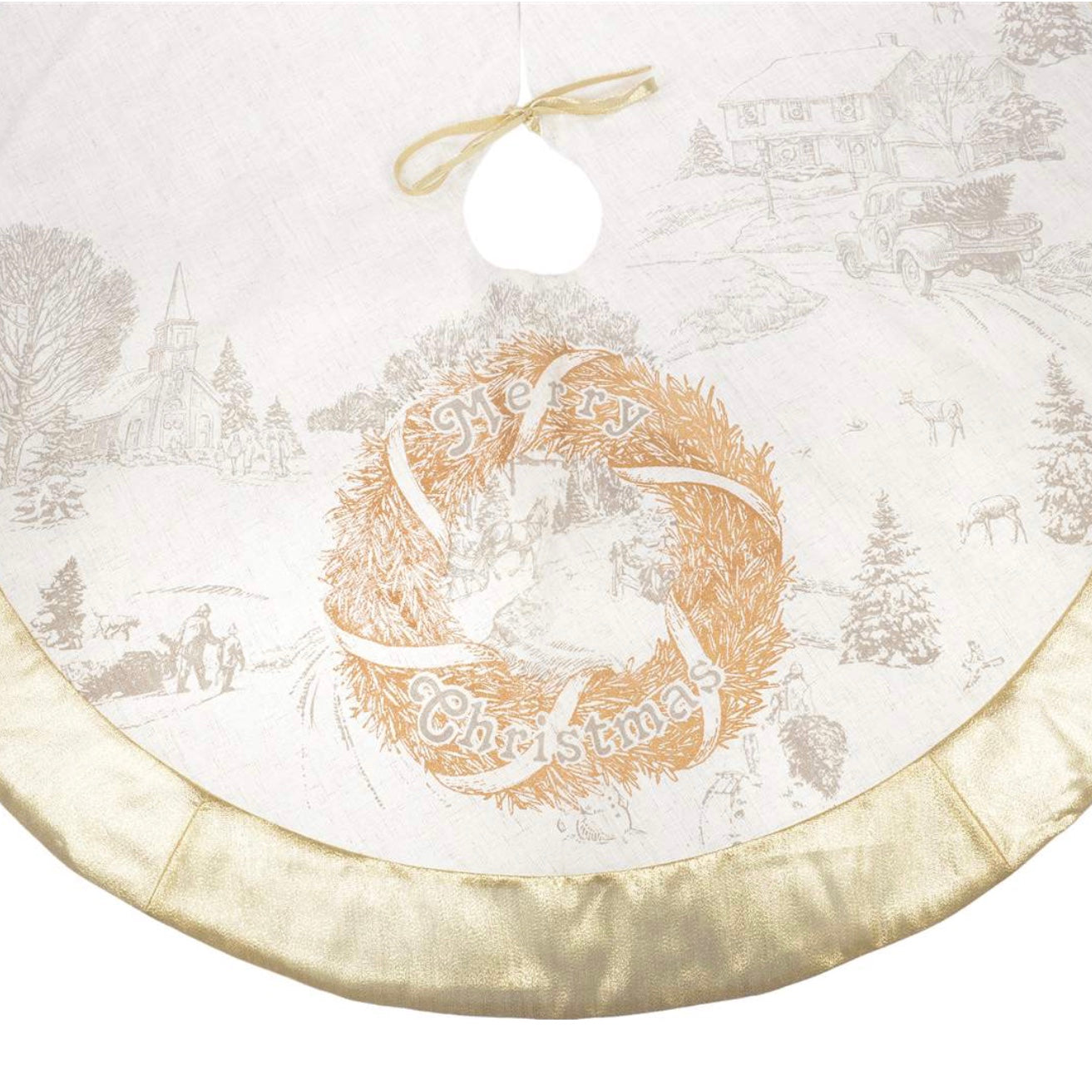 White and Gold Tree Skirt with Wreath, CT-Christmas Tradition, Putti Fine Furnishings