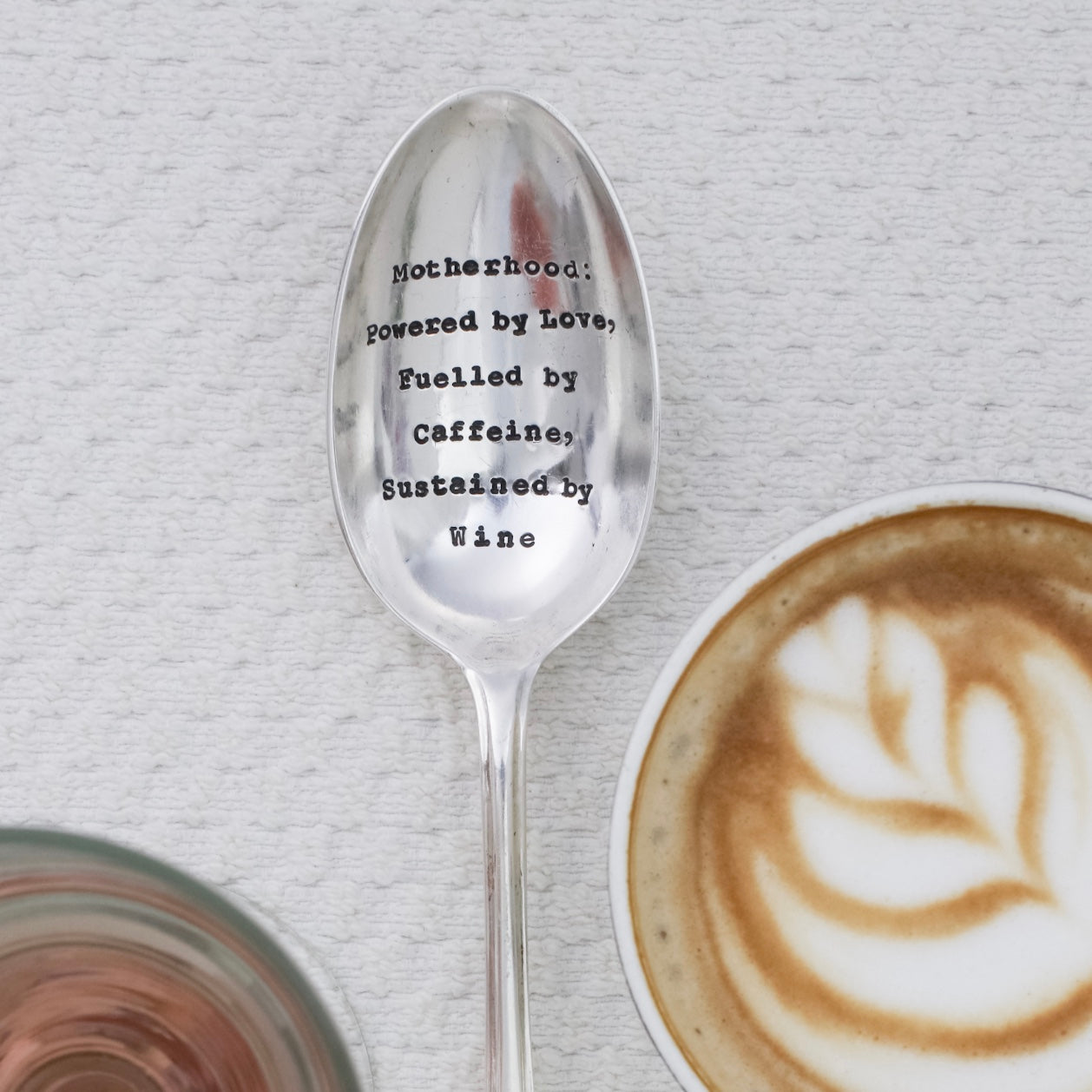 """Motherhood: Powered By love, Fuelled By Caffeine, Sustained By Wine"" Vintage Serving Spoon"
