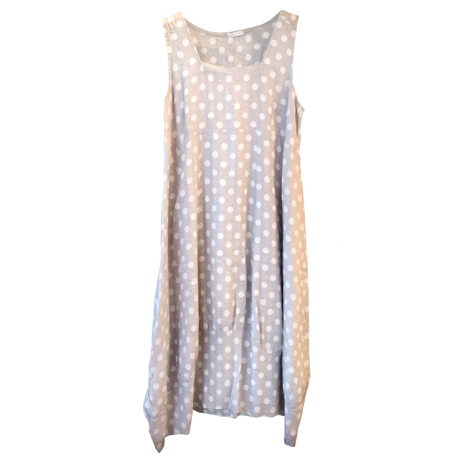 White Spots on Stone Sleeveless Linen Dress