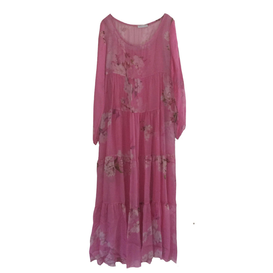 Fuchsia Floral Chiffon Maxi Dress