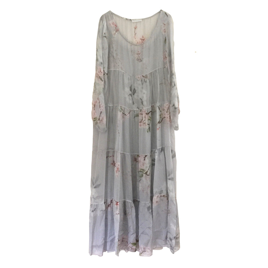 Silver Grey Floral Chiffon Maxi Dress
