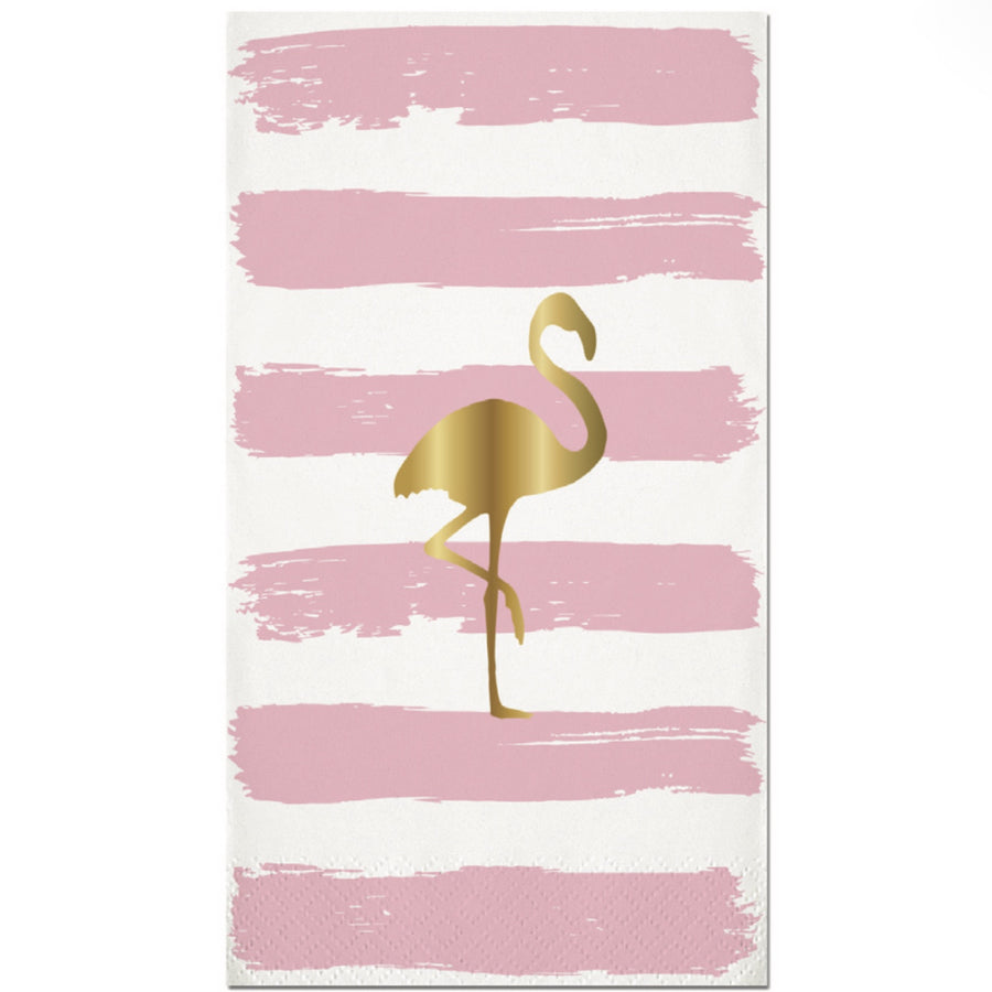 Flamingo Gold Foil Paper Guest Towel