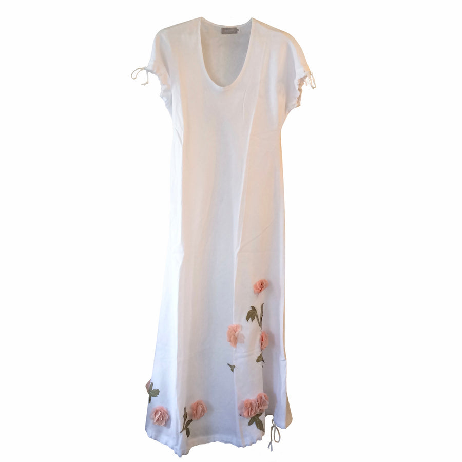 Floral Aplique Linen Dress - White