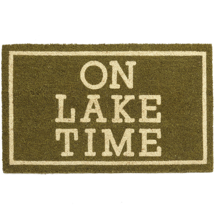 """On Lake Time"" Green Door Mat"