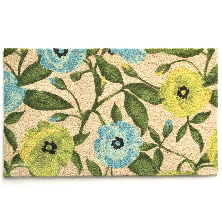 Blue and Green Floral Door Mat