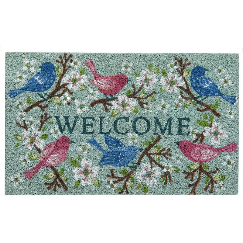 """Welcome"" Birds and Floral Branches Doormat"
