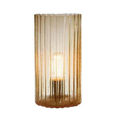 """Rido"" Ribbed Glass Hurricane Lamp - Amber"