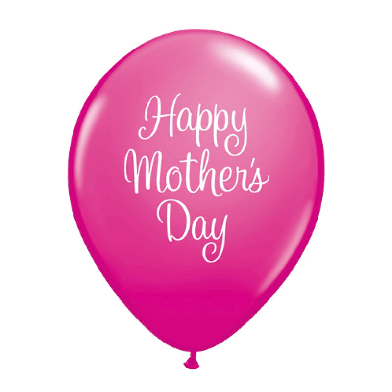 """Happy Mother's Day"" Script Balloon - Hot Pink"