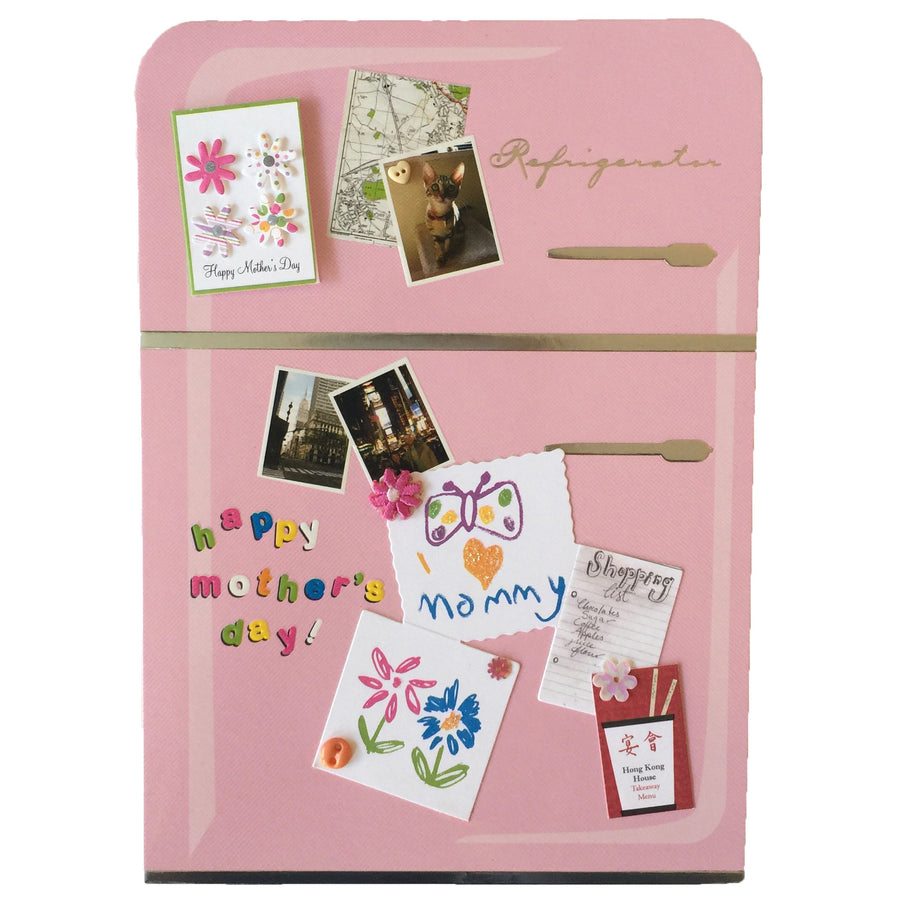 """Happy Mother's Day"" Pink Refrigerator Greeting Card"