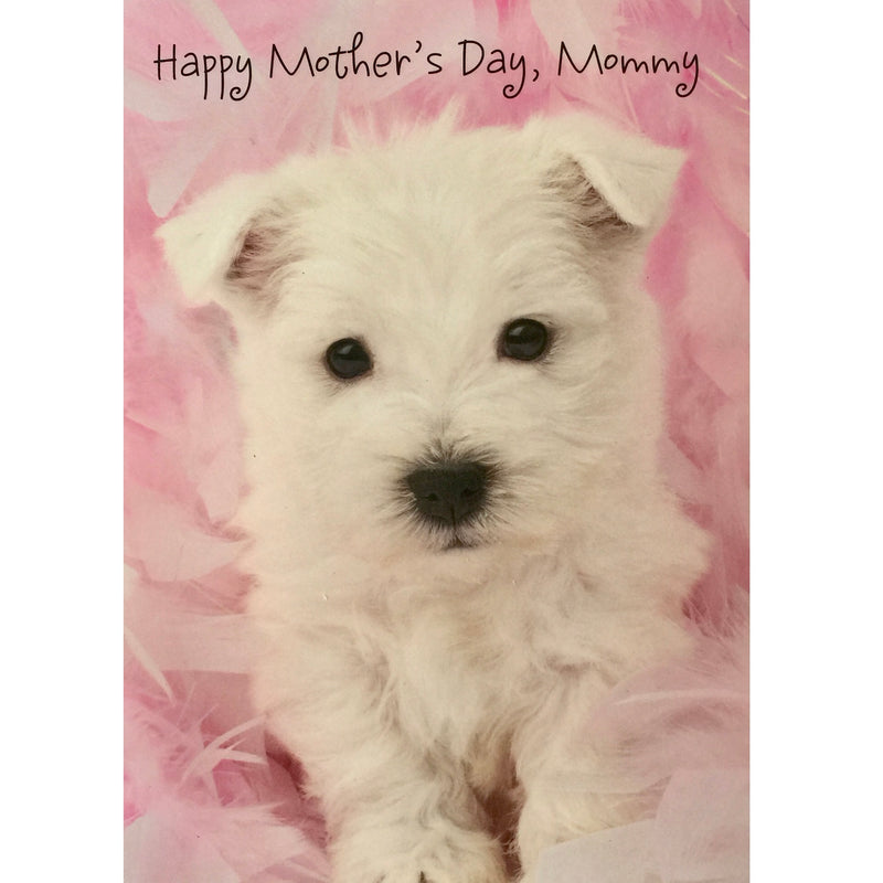 """Happy Mother's Day, Mommy"" White Puppy Greeting Card"