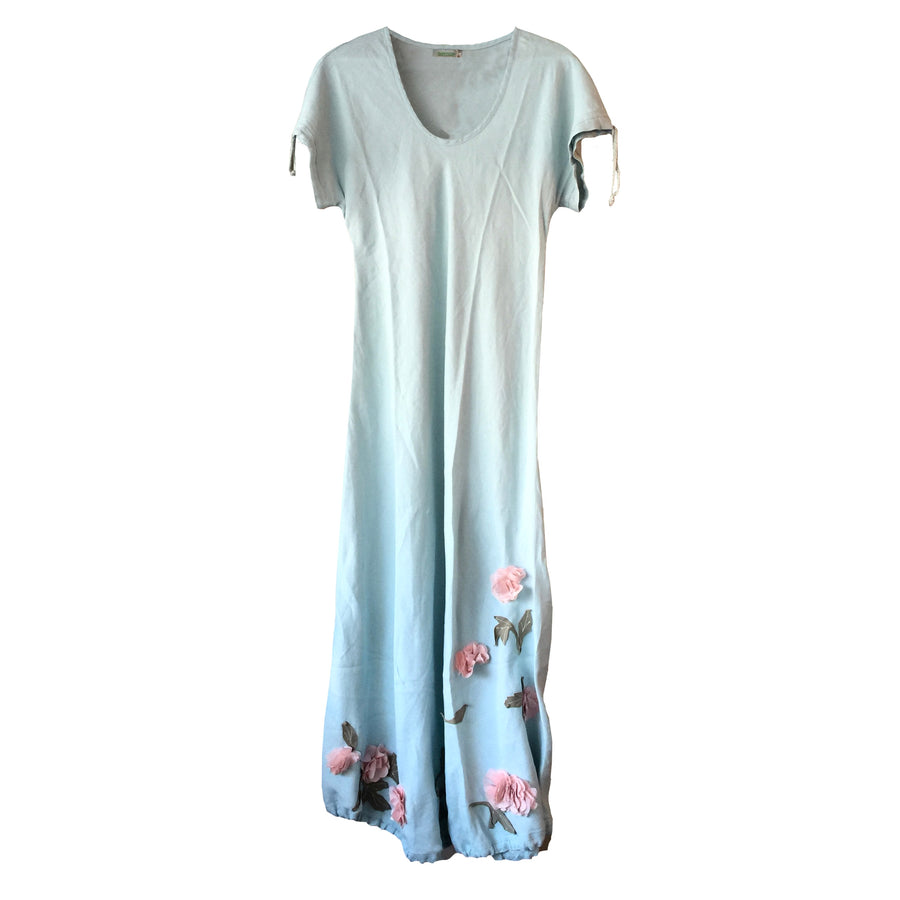 Floral Aplique Linen Dress - Aqua Blue
