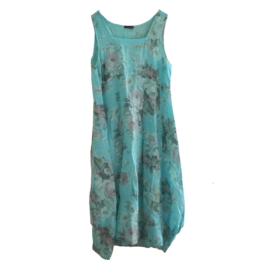 Aqua Floral Sleeveless Linen Dress
