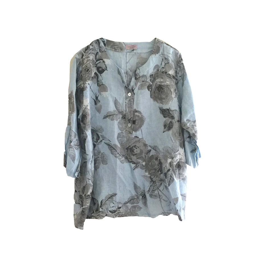 Banded Collar Floral Linen Top - Pale Blue