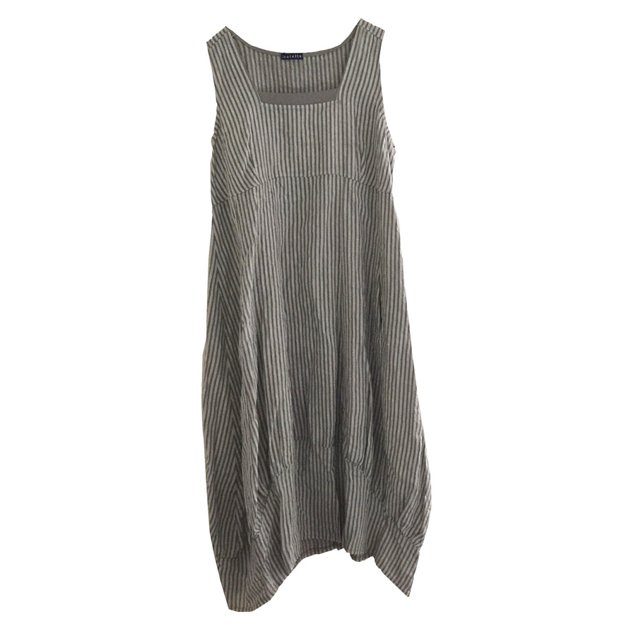 Dark Grey Stripes Sleeveless Linen Dress