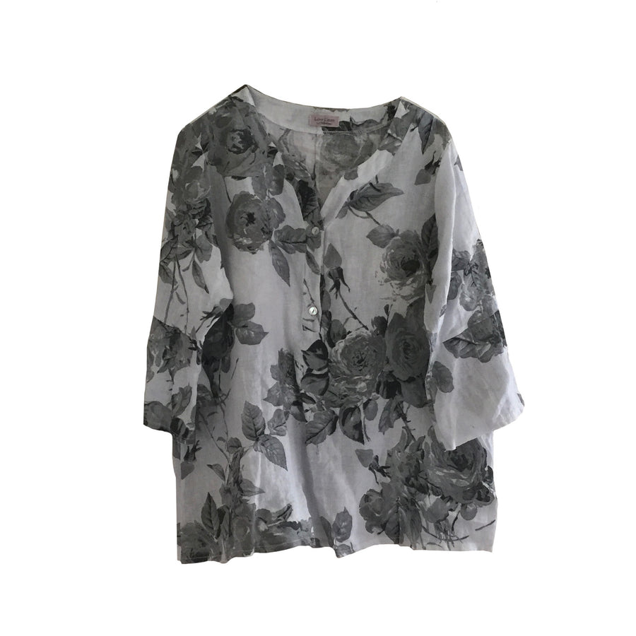 Banded Collar Floral Linen Top - White