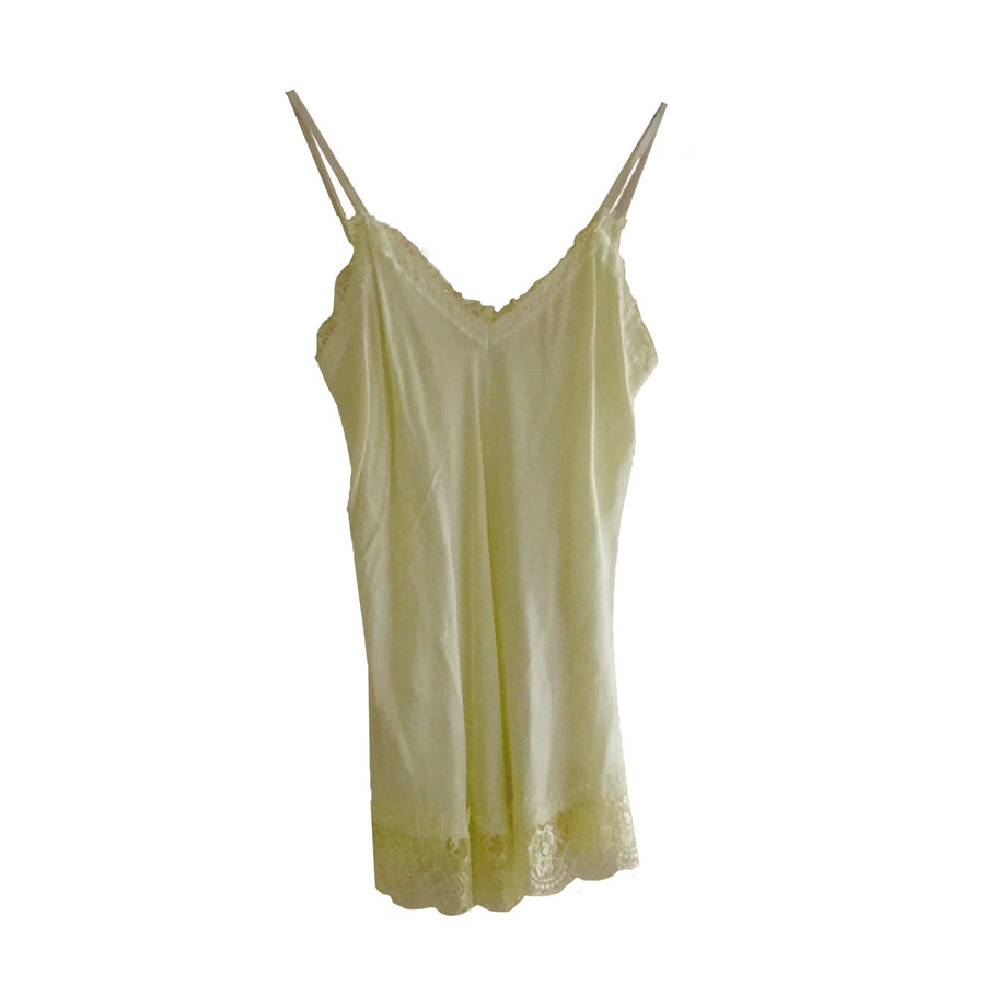Hand Dyed Camisole with Lace - Pale Yellow