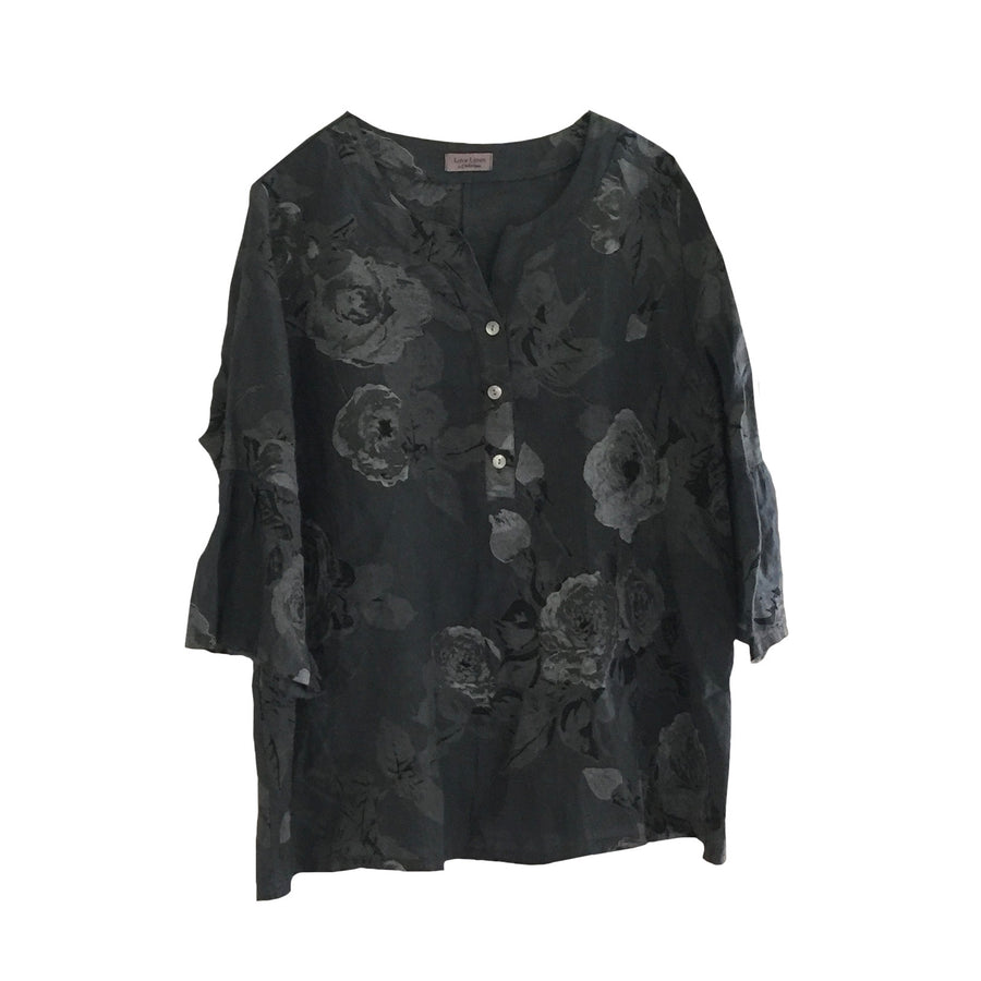 Banded Collar Floral Linen Top - Charcoal