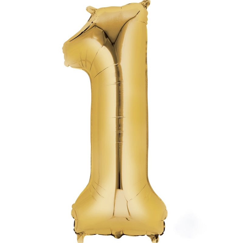 Gold Foil Number Balloon - One