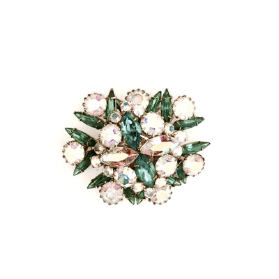 Aqua and Pink Crystal Cluster Brooch