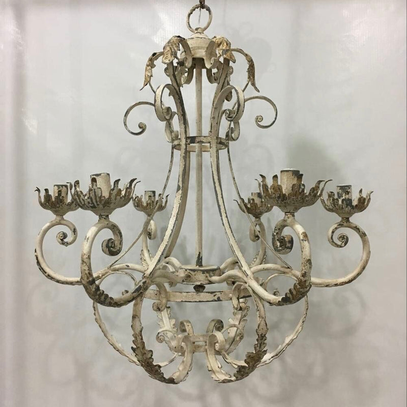 Wrought Iron Chandelier with Distressed Finish