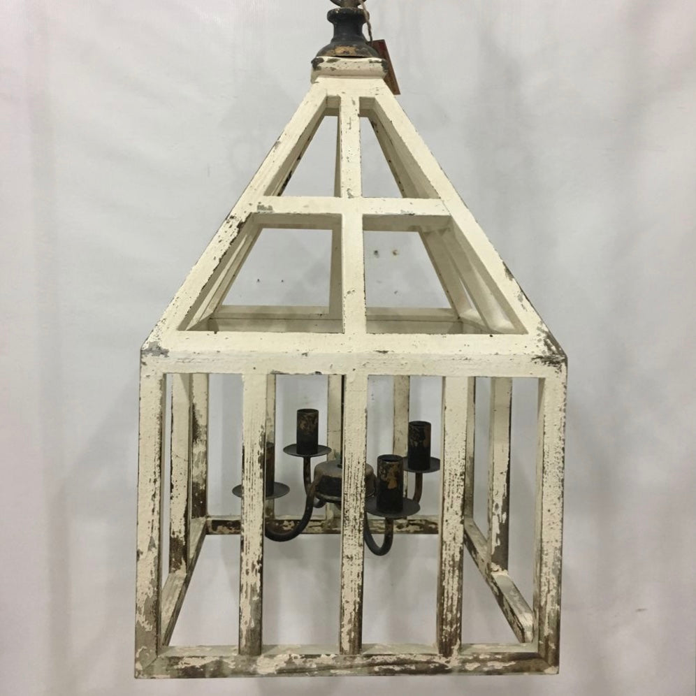 Wooden Cage with Chandelier Light Fixture
