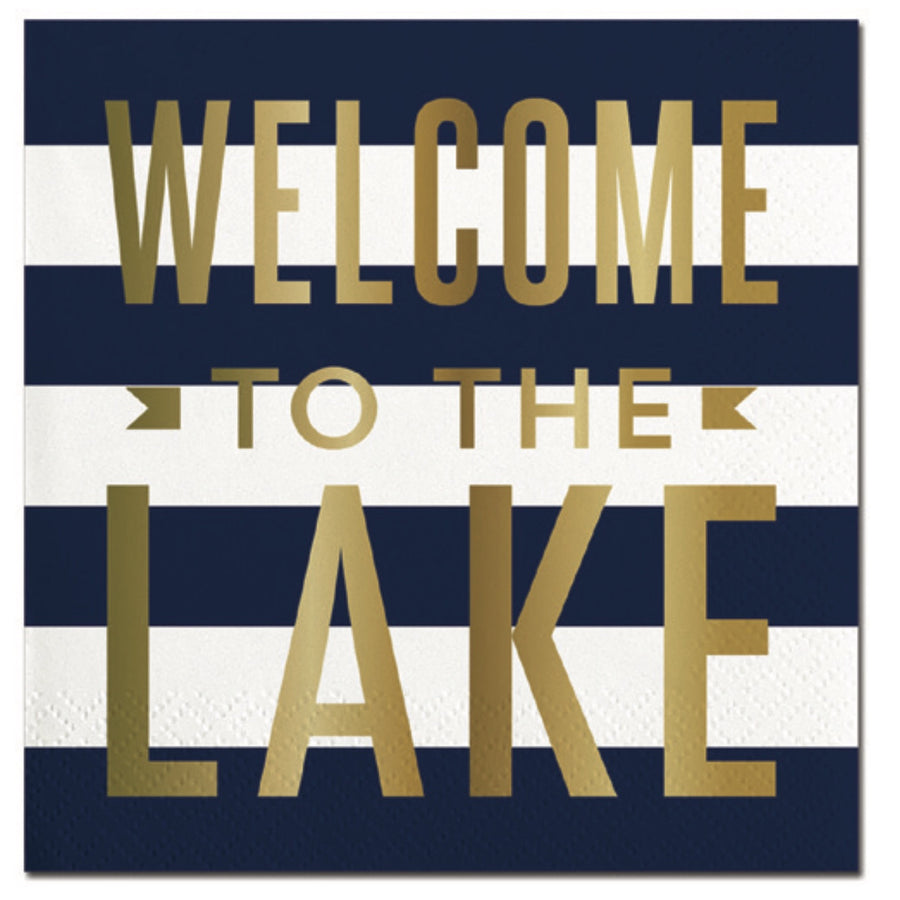 """Welcome To The Lake"" Paper Napkins - Beverage, SC-Slant Collections, Putti Fine Furnishings"