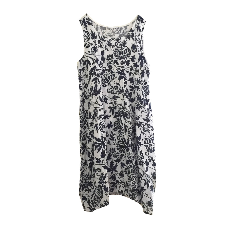 Sleeveless Floral Damask Linen Dress - Navy & White