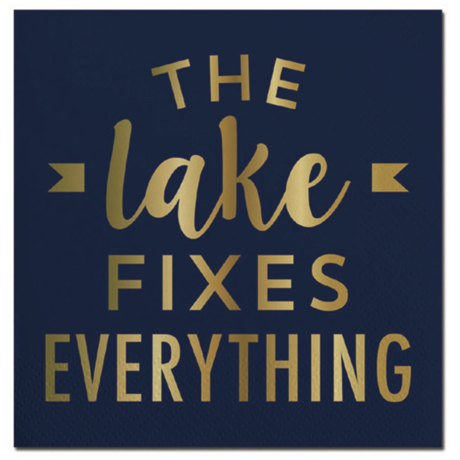 """The Lake Fixes Everything"" Paper Napkins - Beverage, SC-Slant Collections, Putti Fine Furnishings"