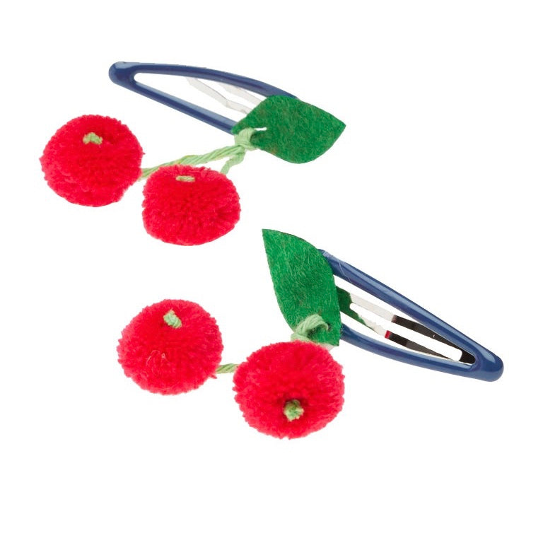 Meri Meri Cherries Pom Pom Hair Clips, MM-Meri Meri UK, Putti Fine Furnishings