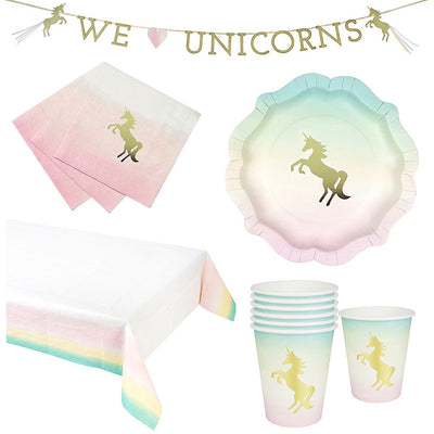 """We Heart Unicorns"" Paper Plates"