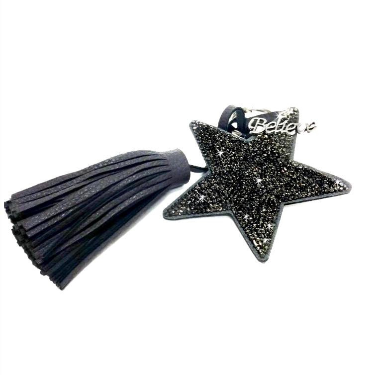 Star Key Chain with Tassel - Black Hematite