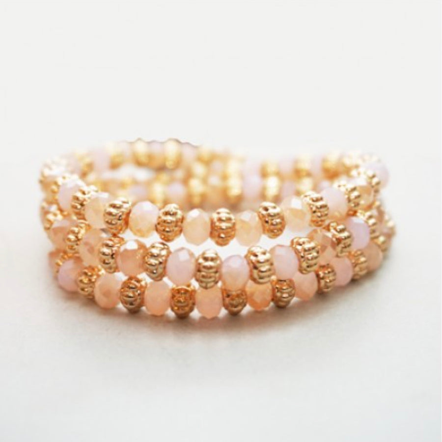 Belle & Flo Stretch Colored Bead Bracelet - Peach
