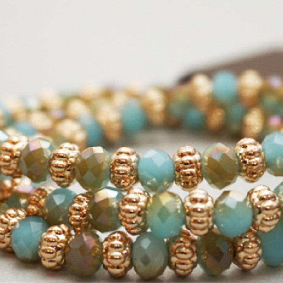 Belle & Flo Stretch Colored Bead Bracelet - Aqua