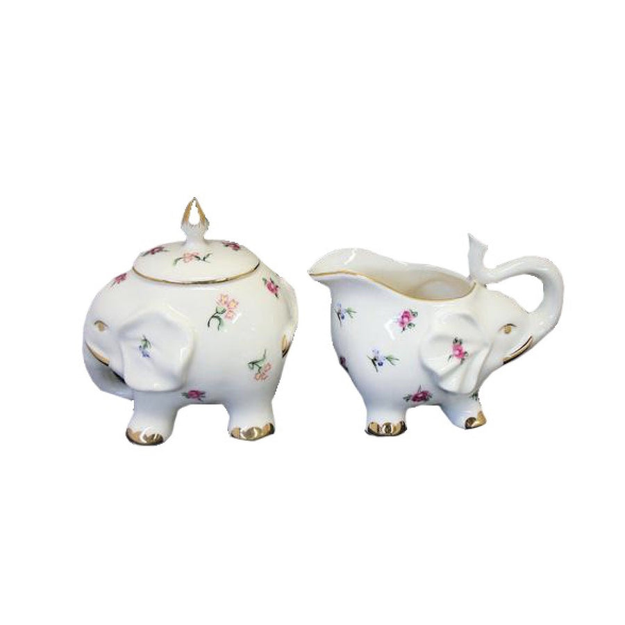 Floral Elephant Cream and Sugar, JLB-J L Bradshaws, Putti Fine Furnishings