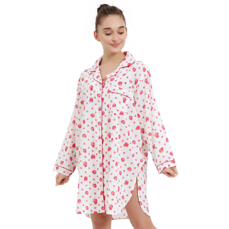 "Mahogany ""Strawberry"" White - Nightshirt"
