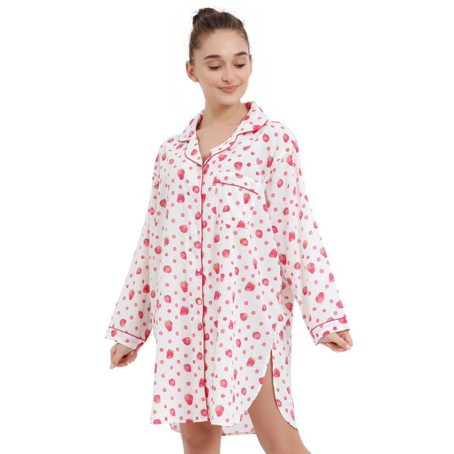 """Strawberry"" White - Nightshirt"