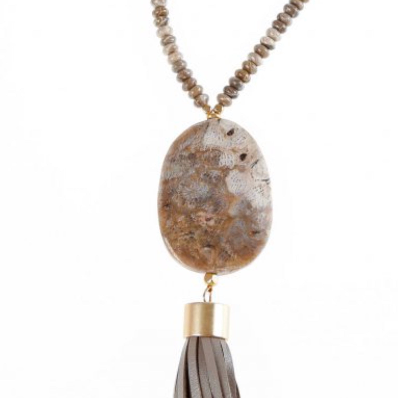 Pranella Detroit Taupe Tassel Necklace