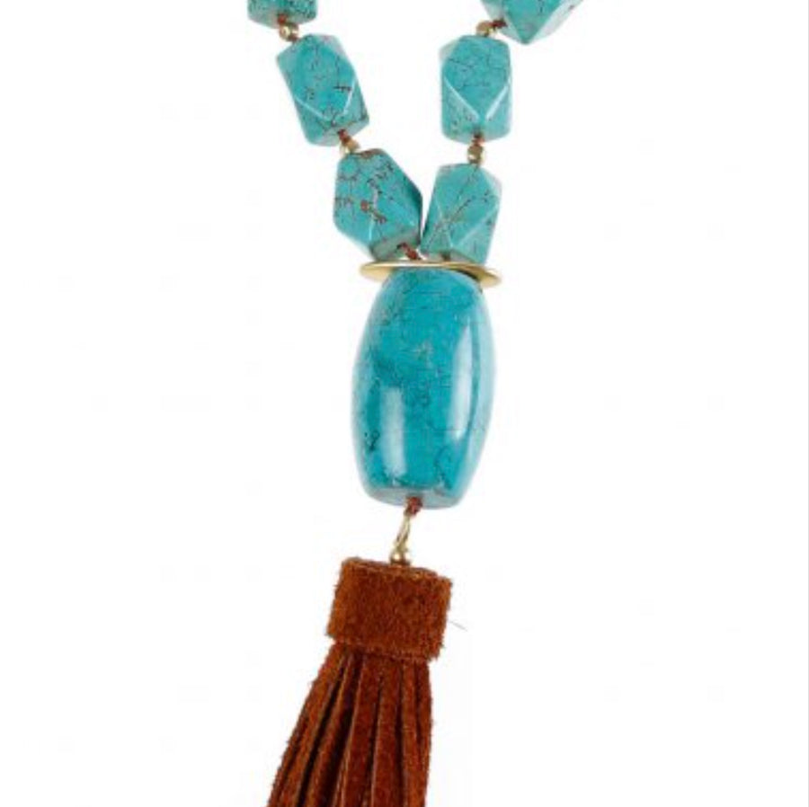 Pranella Arizona Blue Knot Tassel Necklace